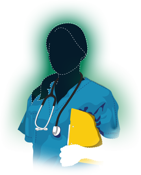 South African nurse in a scrub suit wearing a stethoscope and carrying a medical file